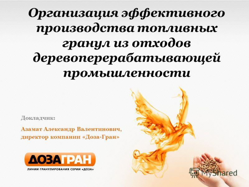 Организация эффективного производства топливных гранул из отходов деревоперерабатывающей промышленности Докладчик: Азамат Александр Валентинович, директор компании «Доза-Гран»