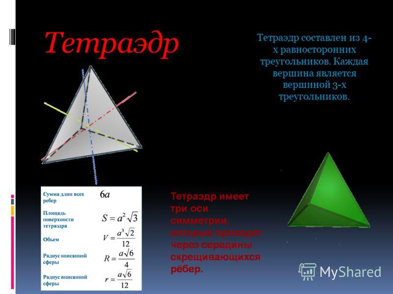 Тетраэдр Тетраэдр составлен из 4- х равносторонних треугольников. Каждая вершина является вершиной 3-х треугольников.