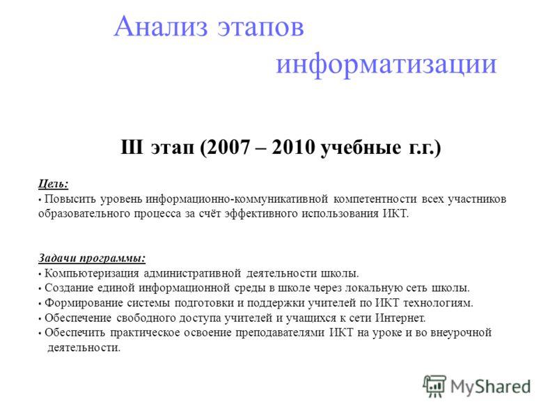 Анализ этапов информатизации III этап (2007 – 2010 учебные г.г.) Цель: Повысить уровень информационно-коммуникативной компетентности всех участников образовательного процесса за счёт эффективного использования ИКТ. Задачи программы: Компьютеризация а