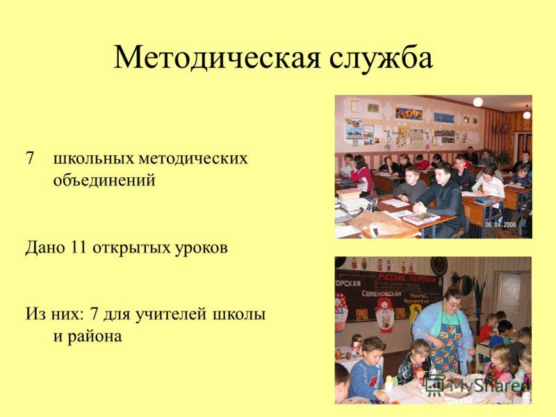Методическая служба 7школьных методических объединений Дано 11 открытых уроков Из них: 7 для учителей школы и района