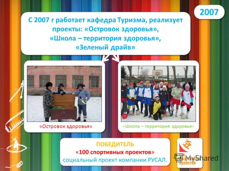 2007 С 2007 г работает кафедра Туризма, реализует проекты: «Островок здоровья», «Школа – территория здоровья», «Зеленый драйв» «Островок здоровья» «Школа – территория здоровья»