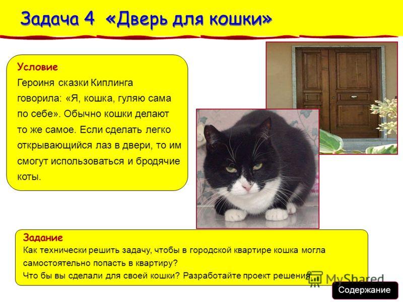 Условие Героиня сказки Киплинга говорила: «Я, кошка, гуляю сама по себе». Обычно кошки делают то же самое. Если сделать легко открывающийся лаз в двери, то им смогут использоваться и бродячие коты. Содержание Задача 4 «Дверь для кошки» Задача 4 «Двер