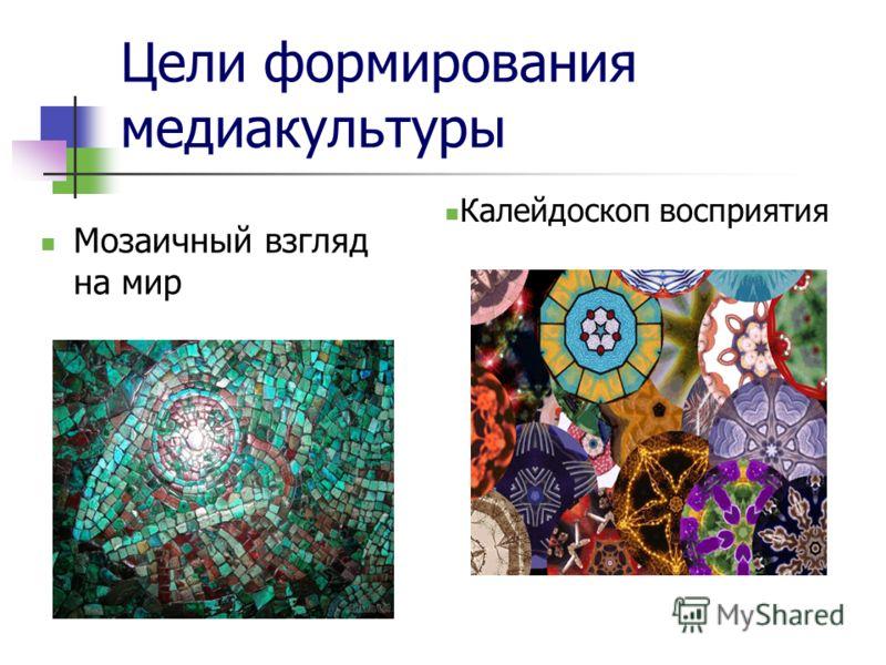 Цели формирования медиакультуры Мозаичный взгляд на мир Калейдоскоп восприятия