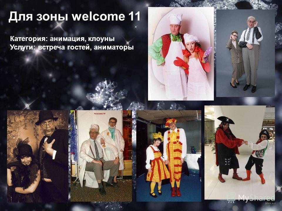 Для зоны welcome 11 Категория: анимация, клоуны Услуги: встреча гостей, аниматоры