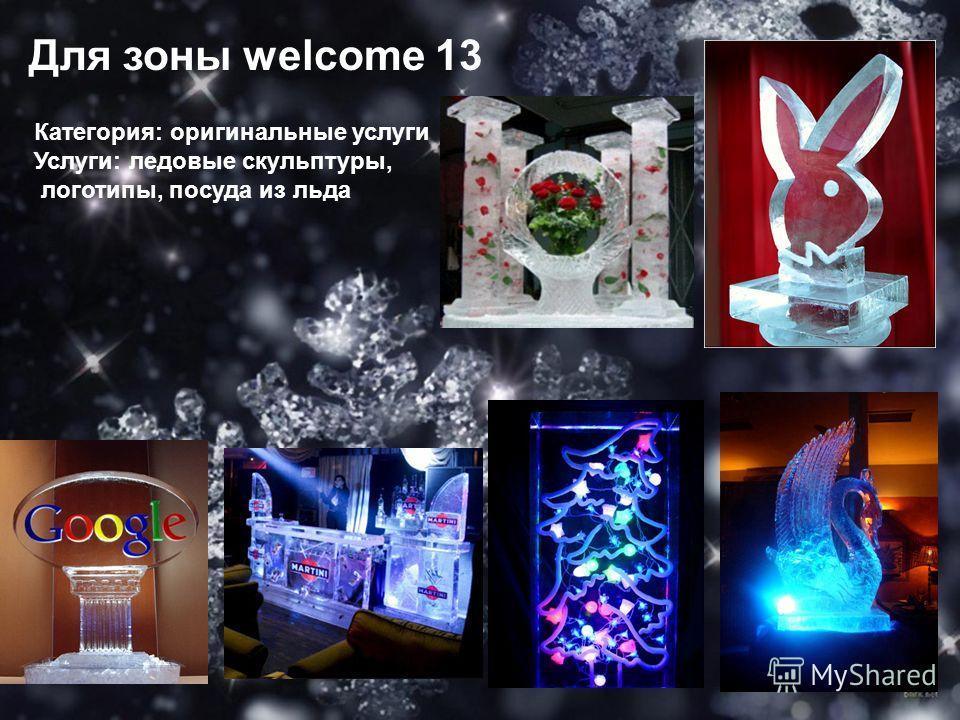 Для зоны welcome 13 Категория: оригинальные услуги Услуги: ледовые скульптуры, логотипы, посуда из льда