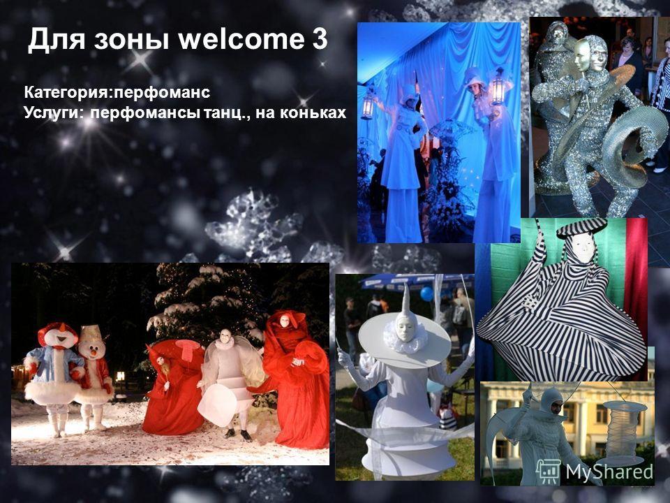 Для зоны welcome 3 Категория:перфоманс Услуги: перфомансы танц., на коньках