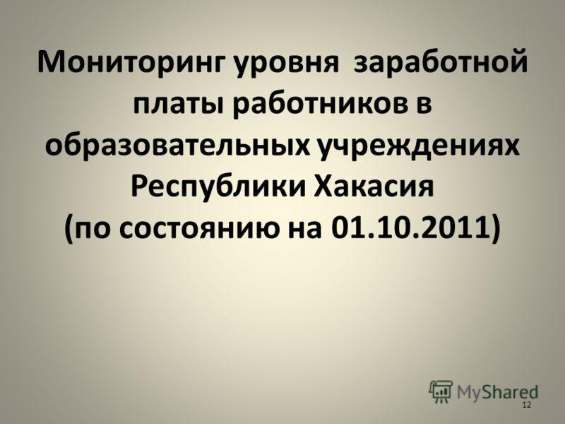 Мониторинг уровня заработной платы работников в образовательных учреждениях Республики Хакасия (по состоянию на 01.10.2011) 12
