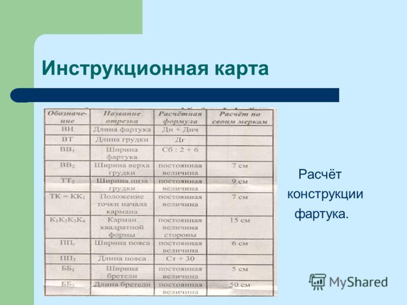 Инструкционная карта Расчёт конструкции фартука.