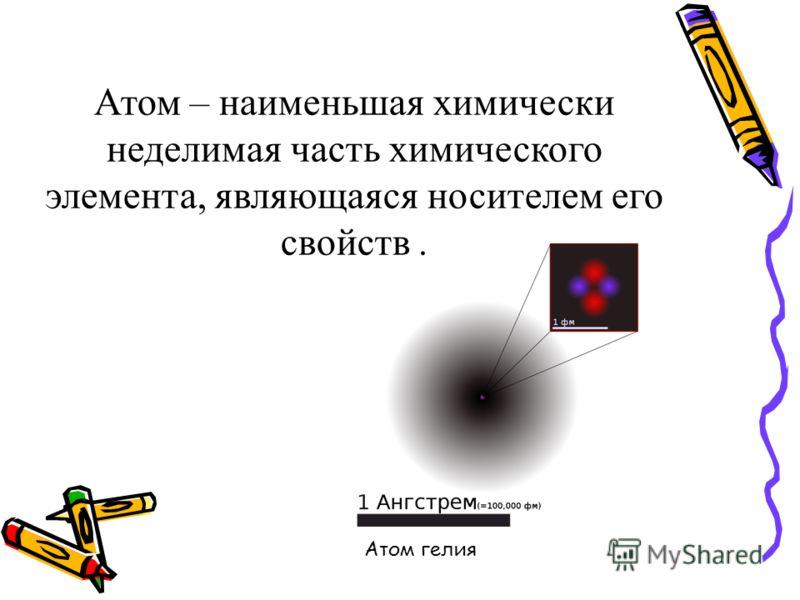 Атом – наименьшая химически неделимая часть химического элемента, являющаяся носителем его свойств. Атом гелия