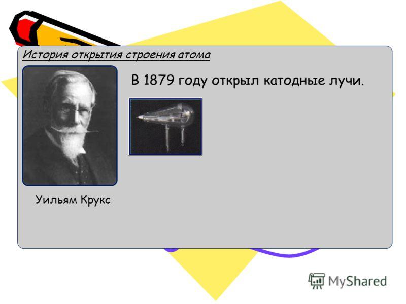 История открытия строения атома Уильям Крукс В 1879 году открыл катодные лучи.