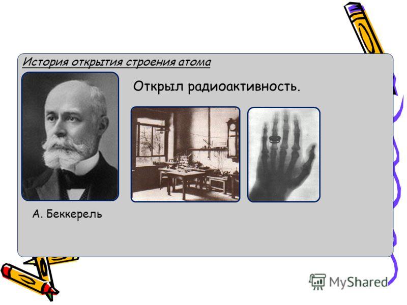 История открытия строения атома А. Беккерель Открыл радиоактивность.