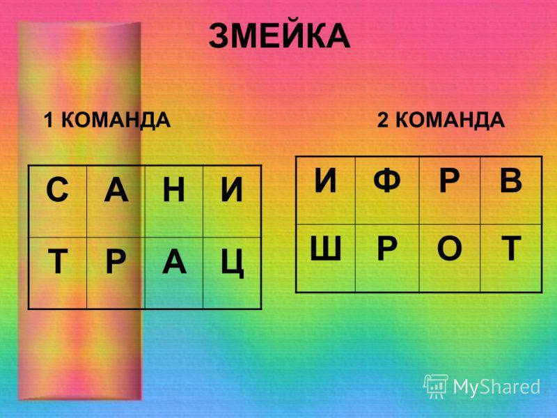 ЗМЕЙКА САНИ ТРАЦ 1 КОМАНДА2 КОМАНДА ИФРВ ШРОТ