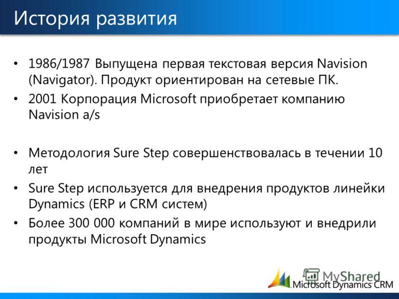 История развития 1986/1987 Выпущена первая текстовая версия Navision (Navigator). Продукт ориентирован на сетевые ПК. 2001 Корпорация Microsoft приобретает компанию Navision a/s Методология Sure Step совершенствовалась в течении 10 лет Sure Step испо