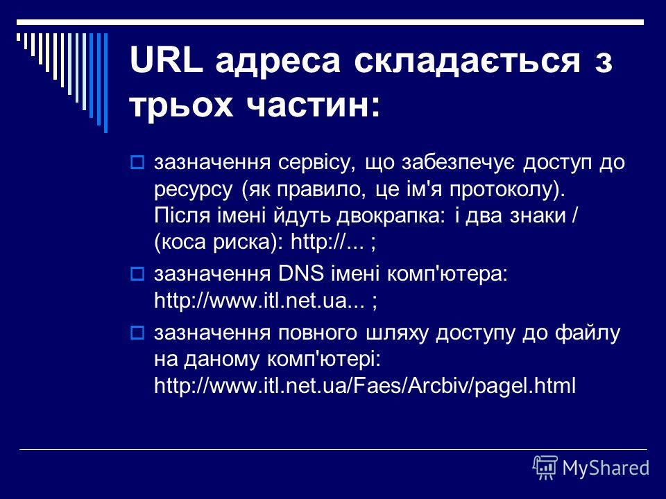 URL адреса складається з трьох частин: зазначення сервісу, що забезпечує доступ до ресурсу (як правило, це ім'я протоколу). Після імені йдуть двокрапка: і два знаки / (коса риска): http://... ; зазначення DNS імені комп'ютера: http://www.itl.net.ua..