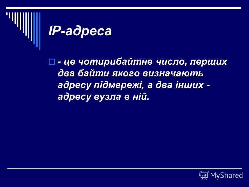 IP-адреса - це чотирибайтне число, перших два байти якого визначають адресу підмережі, а два інших - адресу вузла в ній.