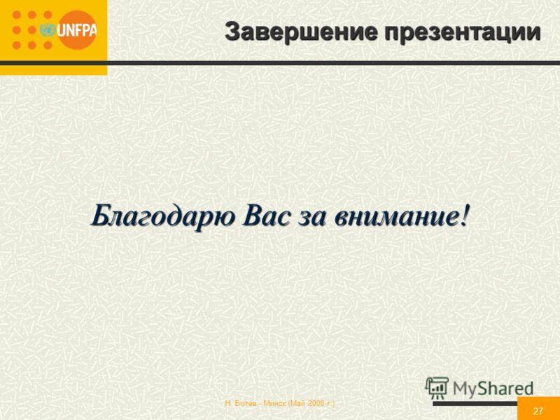 Н. Ботев - Минск (Май 2008 г.) 27 Благодарю Вас за внимание! Завершение презентации