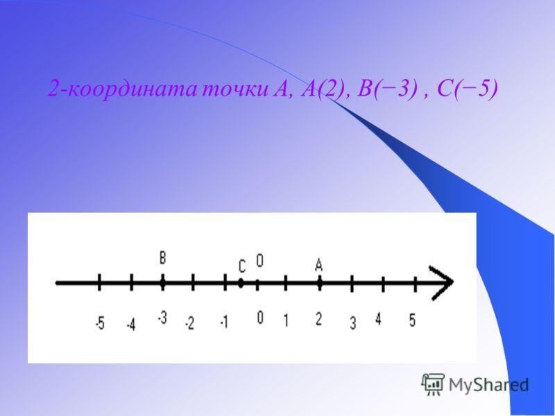 2-координата точки A, A(2), B(3), C(5)