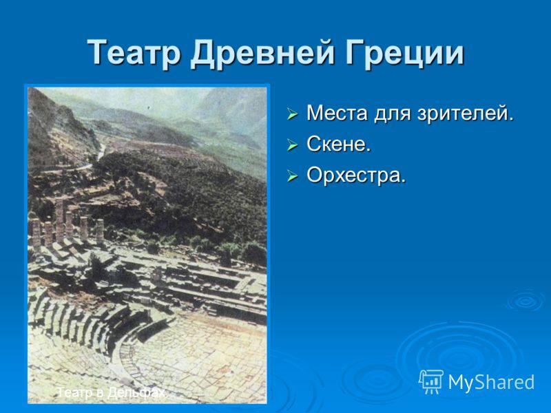 Театр Древней Греции Места для зрителей. Места для зрителей. Скене. Скене. Орхестра. Орхестра. Театр в Дельфах.