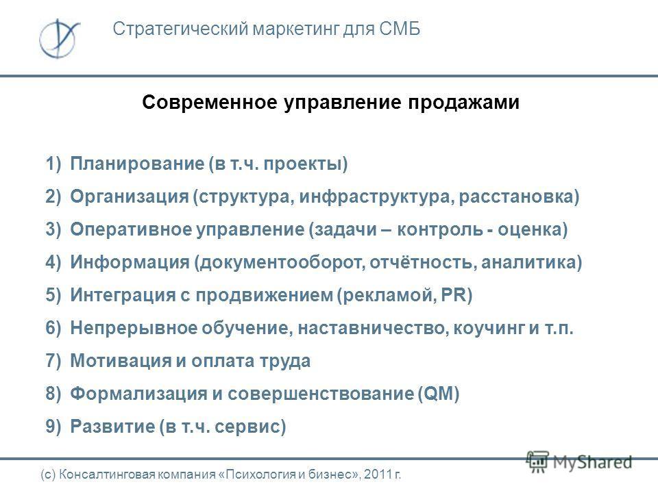 Современное управление продажами (с) Консалтинговая компания «Психология и бизнес», 2011 г. Стратегический маркетинг для СМБ 1)Планирование (в т.ч. проекты) 2)Организация (структура, инфраструктура, расстановка) 3)Оперативное управление (задачи – кон