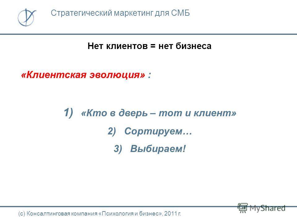 Нет клиентов = нет бизнеса (с) Консалтинговая компания «Психология и бизнес», 2011 г. Стратегический маркетинг для СМБ «Клиентская эволюция» : 1) «Кто в дверь – тот и клиент» 2) Сортируем… 3) Выбираем!