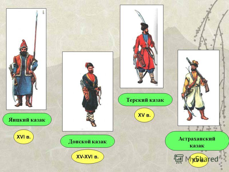 Яицкий казакДонской казакТерский казак Астраханский казак XVI в. XV в. XV-XVI в. XV в.