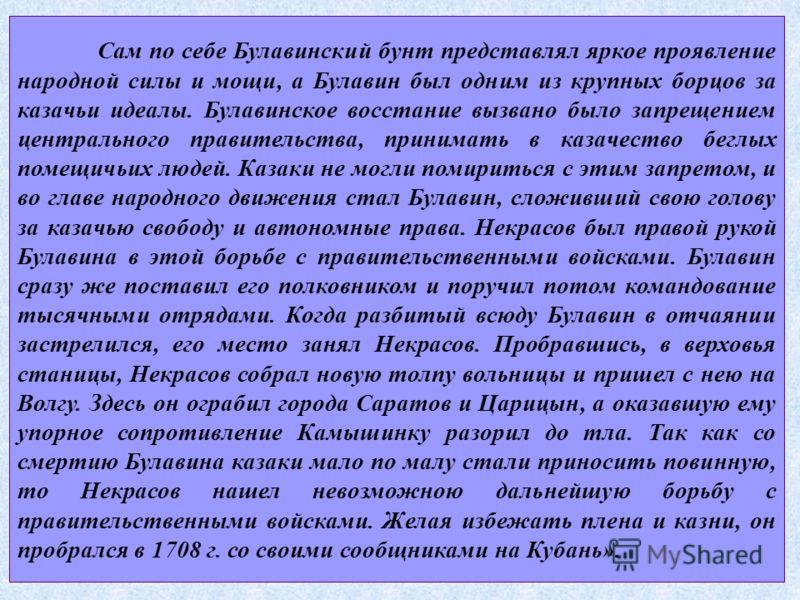 Сам по себе Булавинский бунт представлял яркое проявление народной силы и мощи, а Булавин был одним из крупных борцов за казачьи идеалы. Булавинское восстание вызвано было запрещением центрального правительства, принимать в казачество беглых помещичь