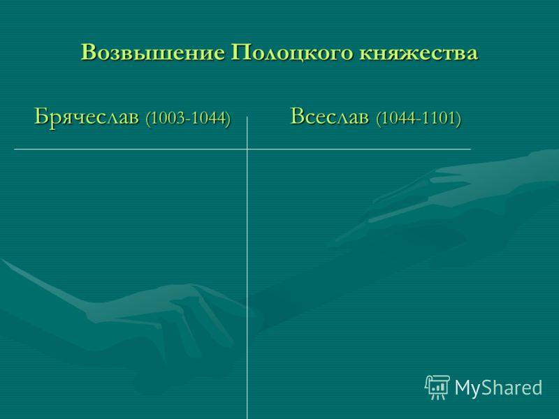 Возвышение Полоцкого княжества Брячеслав (1003-1044) Всеслав (1044-1101)