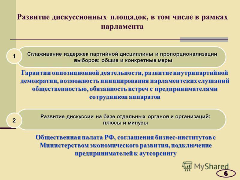 Развитие дискуссионных площадок, в том числе в рамках парламента 6 Сглаживание издержек партийной дисциплины и пропорционализации выборов: общие и конкретные меры 1 Гарантии оппозиционной деятельности, развитие внутрипартийной демократии, возможность