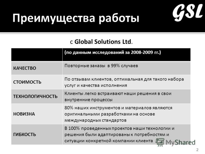 с Global Solutions Ltd. 2 (по данным исследований за 2008-2009 гг.) КАЧЕСТВО Повторные заказы в 99% случаев СТОИМОСТЬ По отзывам клиентов, оптимальная для такого набора услуг и качества исполнения ТЕХНОЛОГИЧНОСТЬ Клиенты легко встраивают наши решения