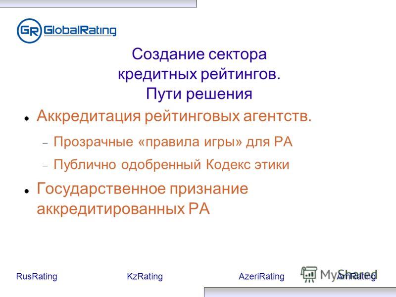 RusRatingKzRatingAzeriRatingAmRating Создание сектора кредитных рейтингов. Пути решения Аккредитация рейтинговых агентств. Прозрачные «правила игры» для РА Публично одобренный Кодекс этики Государственное признание аккредитированных РА