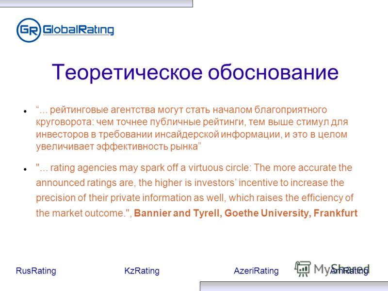 RusRatingKzRatingAzeriRatingAmRating Теоретическое обоснование... рейтинговые агентства могут стать началом благоприятного круговорота: чем точнее публичные рейтинги, тем выше стимул для инвесторов в требовании инсайдерской информации, и это в целом