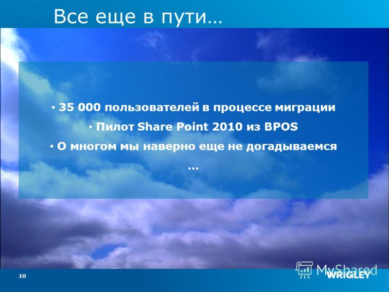 Все еще в пути… 10 35 000 пользователей в процессе миграции Пилот Share Point 2010 из BPOS О многом мы наверно еще не догадываемся …