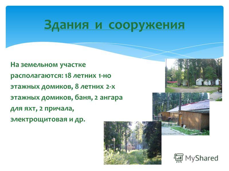 На земельном участке располагаются: 18 летних 1-но этажных домиков, 8 летних 2-х этажных домиков, баня, 2 ангара для яхт, 2 причала, электрощитовая и др. Здания и сооружения