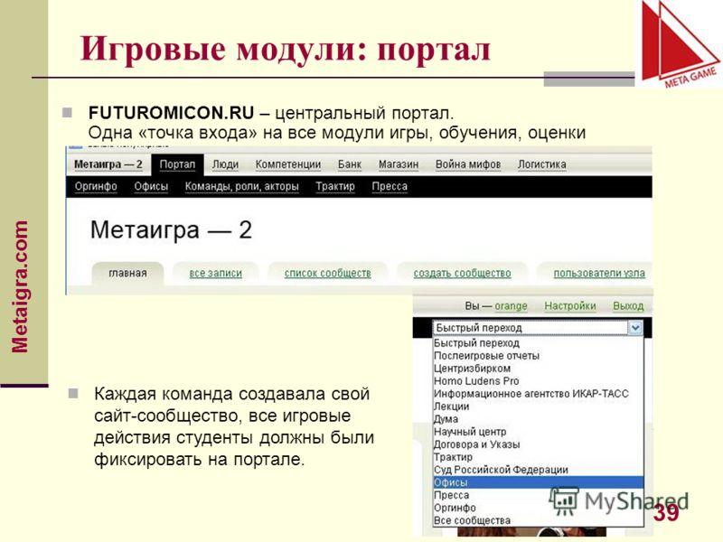 Metaigra.com 39 Игровые модули: портал FUTUROMICON.RU – центральный портал. Одна «точка входа» на все модули игры, обучения, оценки Каждая команда создавала свой сайт-сообщество, все игровые действия студенты должны были фиксировать на портале.