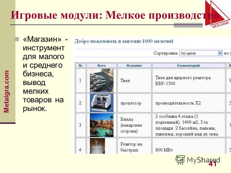 Metaigra.com 41 Игровые модули: Мелкое производство «Магазин» - инструмент для малого и среднего бизнеса, вывод мелких товаров на рынок.