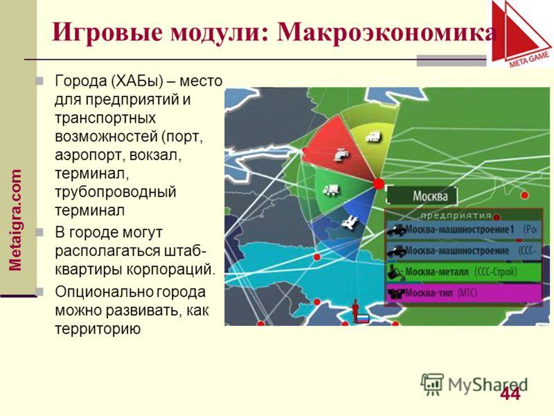 Metaigra.com 44 Города (ХАБы) – место для предприятий и транспортных возможностей (порт, аэропорт, вокзал, терминал, трубопроводный терминал В городе могут располагаться штаб- квартиры корпораций. Опционально города можно развивать, как территорию Иг