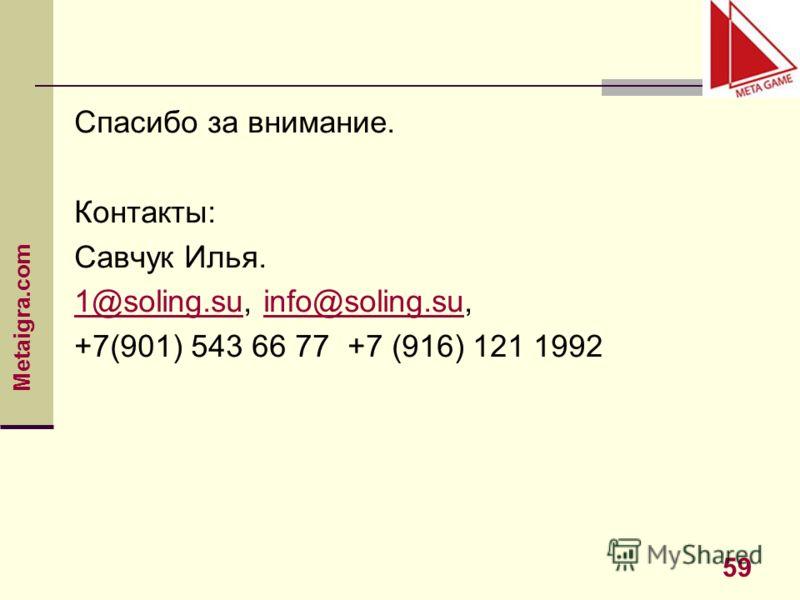 Metaigra.com 59 Спасибо за внимание. Контакты: Савчук Илья. 1@soling.su1@soling.su, info@soling.su,info@soling.su +7(901) 543 66 77 +7 (916) 121 1992