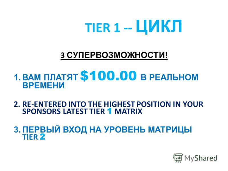 TIER 1 -- ЦИКЛ 3 СУПЕРВОЗМОЖНОСТИ! 1.ВАМ ПЛАТЯТ $100.00 В РЕАЛЬНОМ ВРЕМЕНИ 2.RE-ENTERED INTO THE HIGHEST POSITION IN YOUR SPONSORS LATEST TIER 1 MATRIX 3.ПЕРВЫЙ ВХОД НА УРОВЕНЬ МАТРИЦЫ TIER 2