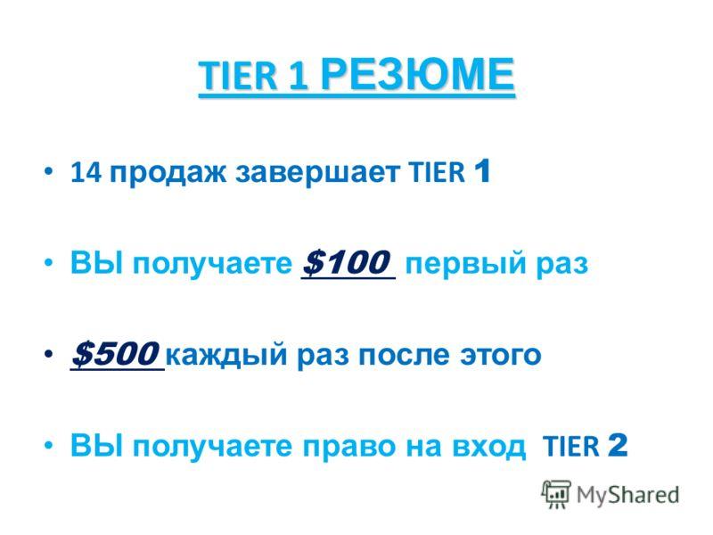 TIER 1 РЕЗЮМЕ 14 продаж завершает TIER 1 ВЫ получаете $100 первый раз $500 каждый раз после этого ВЫ получаете право на вход TIER 2