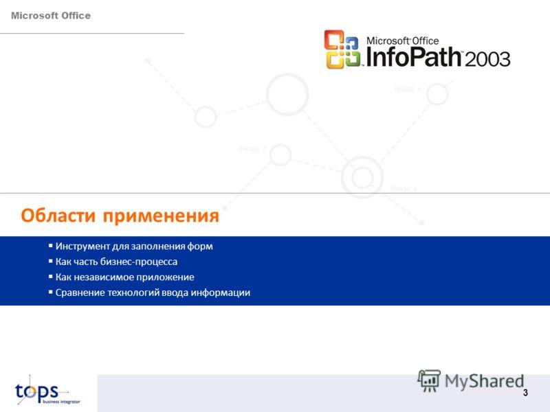 Microsoft Office 3 Области применения Инструмент для заполнения форм Как часть бизнес-процесса Как независимое приложение Сравнение технологий ввода информации