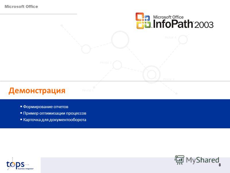 Microsoft Office 8 Демонстрация Формирование отчетов Пример оптимизации процессов Карточка для документооборота