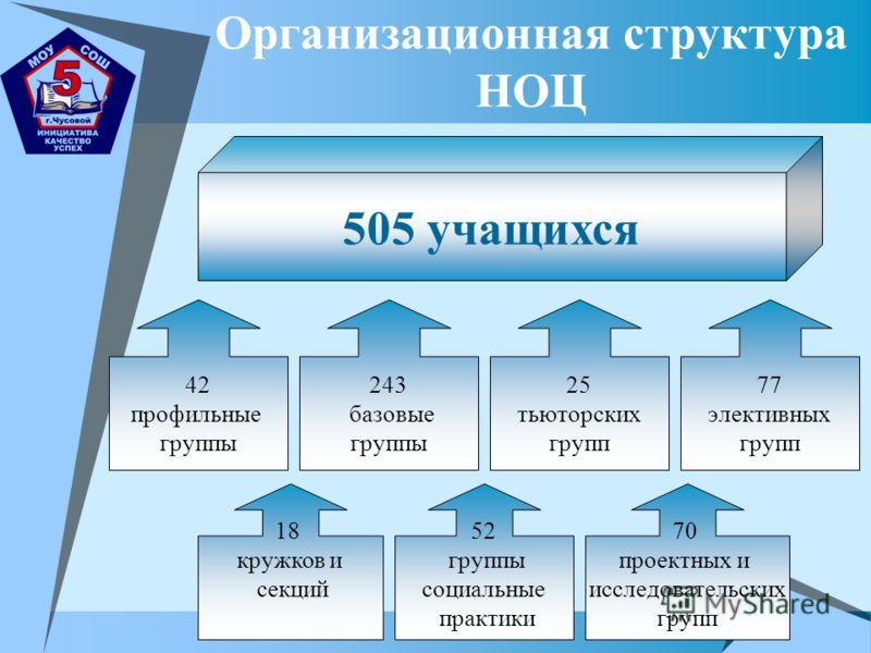 Организационная структура НОЦ 505 учащихся 42 профильные группы 243 базовые группы 77 элективных групп 25 тьюторских групп 18 кружков и секций 52 группы социальные практики 70 проектных и исследовательских групп