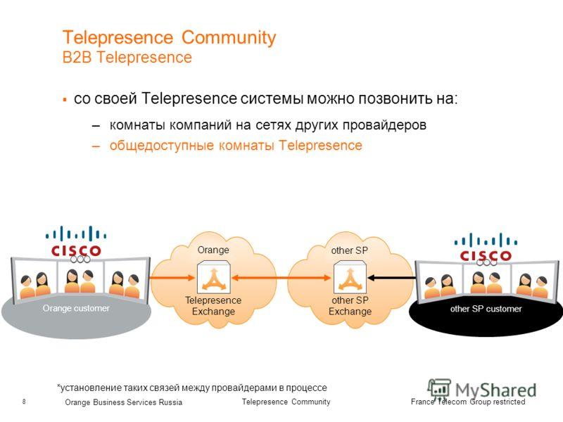 8 Orange Business Services Russia Telepresence Community France Telecom Group restricted Telepresence Community B2B Telepresence со своей Telepresence системы можно позвонить на: –комнаты компаний на сетях других провайдеров –общедоступные комнаты Te