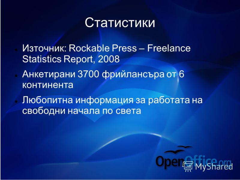 Статистики Източник: Rockable Press – Freelance Statistics Report, 2008 Анкетирани 3700 фрийлансъра от 6 континента Любопитна информация за работата на свободни начала по света