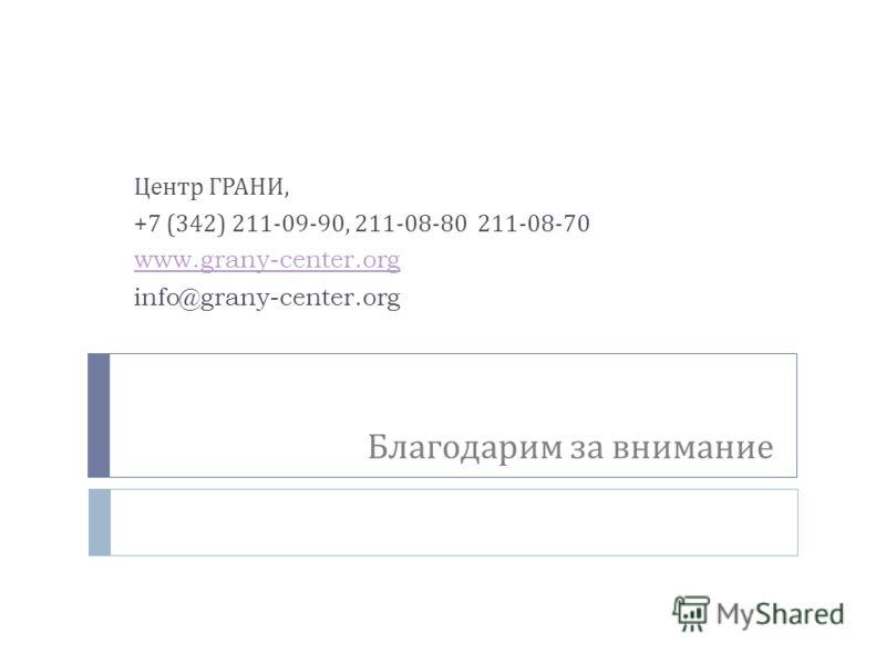 Благодарим за внимание Центр ГРАНИ, +7 (342) 211-09-90, 211-08-80 211-08-70 www.grany-center.org info@grany-center.org Центр ГРАНИ