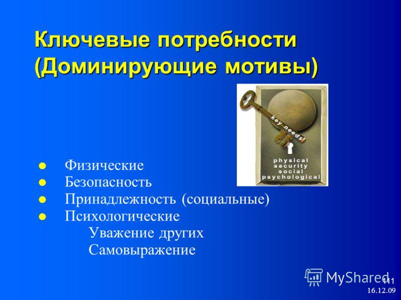 16.12.09 111 Ключевые потребности (Доминирующие мотивы) Физические Безопасность Принадлежность (социальные) Психологические Уважение других Самовыражение
