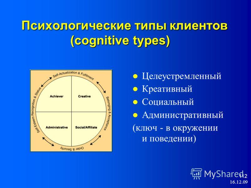 16.12.09 112 Психологические типы клиентов (cognitive types) Целеустремленный Креативный Социальный Административный (ключ - в окружении и поведении)