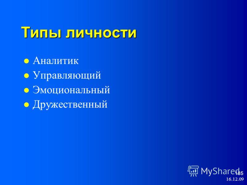16.12.09 185 Типы личности Аналитик Управляющий Эмоциональный Дружественный