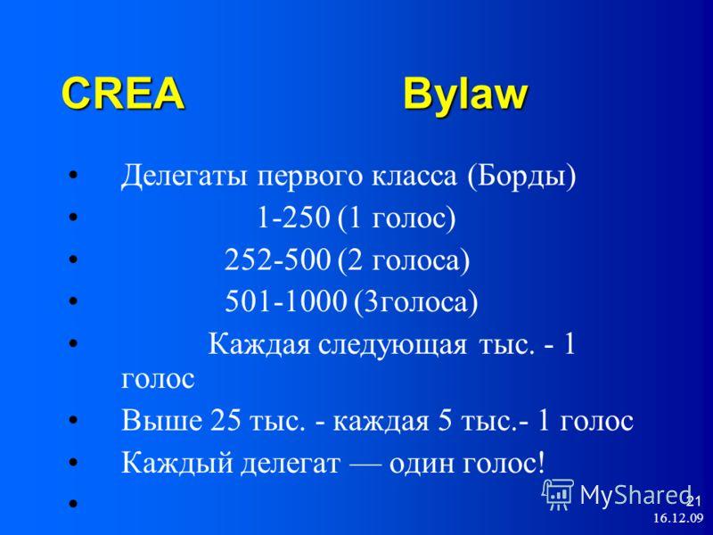 16.12.09 21 CREA Bylaw Делегаты первого класса (Борды) 1-250 (1 голос) 252-500 (2 голоса) 501-1000 (3голоса) Каждая следующая тыс. - 1 голос Выше 25 тыс. - каждая 5 тыс.- 1 голос Каждый делегат один голос!