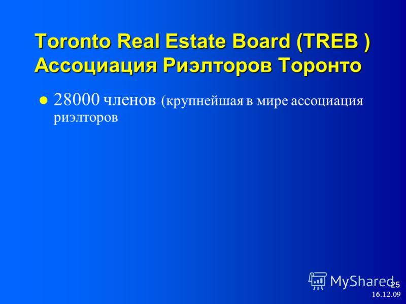 16.12.09 25 Toronto Real Estate Board (TREB ) Ассоциация Риэлторов Торонто 28000 членов (крупнейшая в мире ассоциация риэлторов
